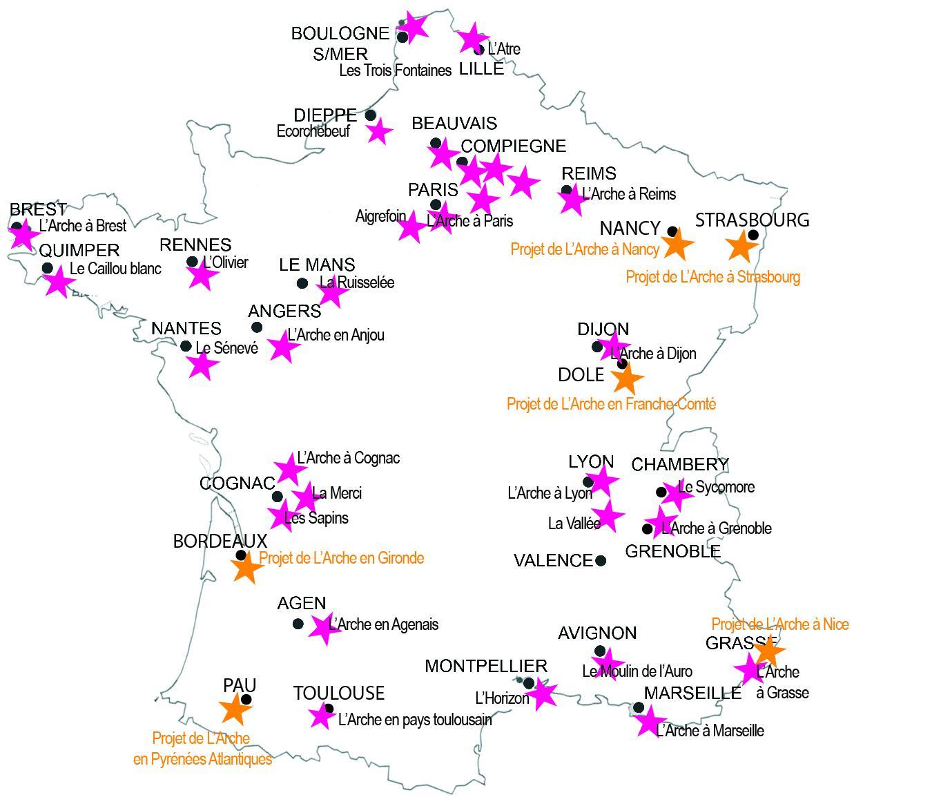 Carte de L'Arche en France